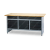 Rolling indoor garage lights workbench with storage